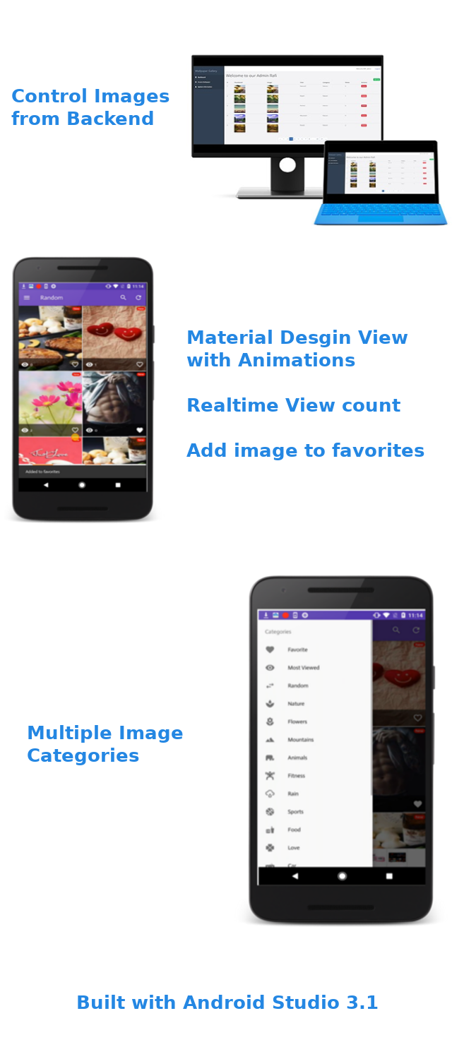 Wallpaper Gallery Template for Android with admob and push notification - 1